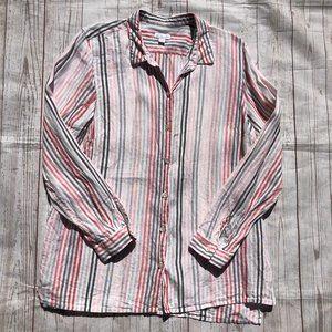 J. Jill Striped Linen Shirt size large
